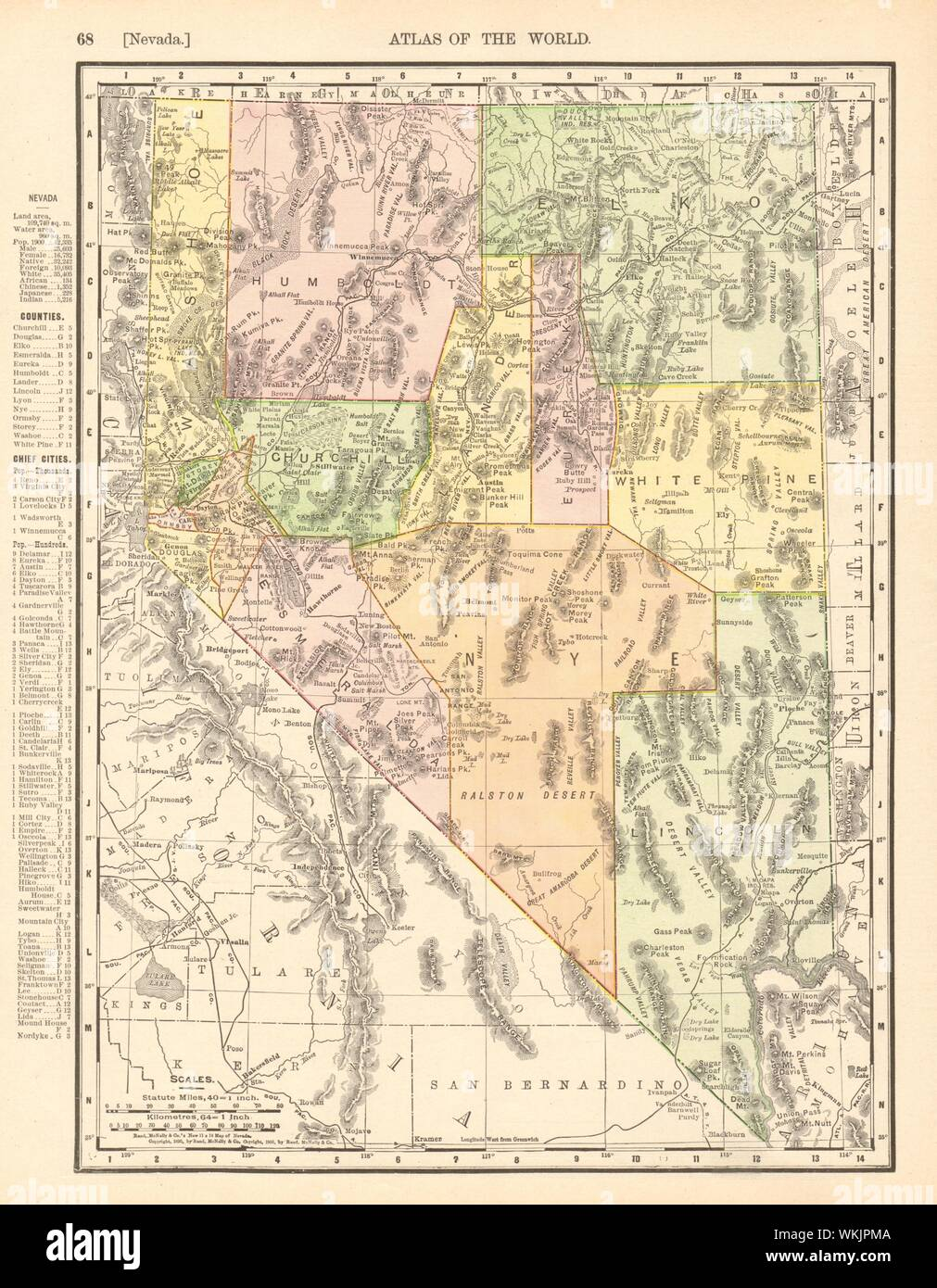 Nevada state map. Shows Las Vegas Wash & valley. RAND ...
