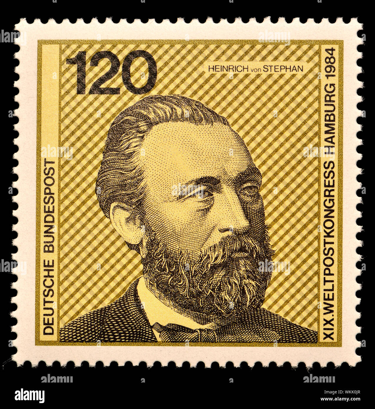 German postage stamp (1984) : Heinrich von Stephan (1831-97) general post director for the German Empire who reorganized the German postal service Stock Photo