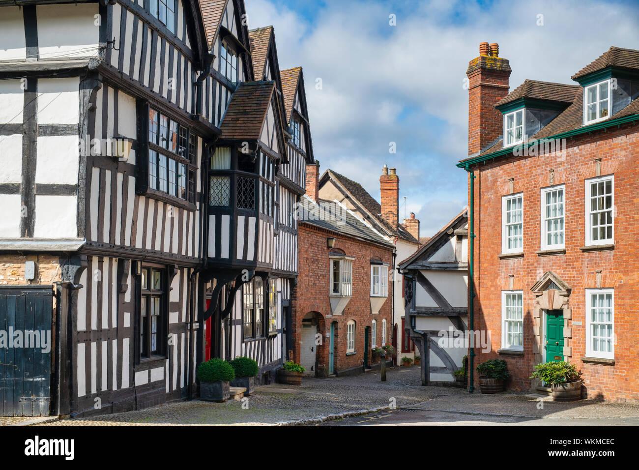 Timber framed period buildings along church lane, Ledbury Herefordshire. England Stock Photo
