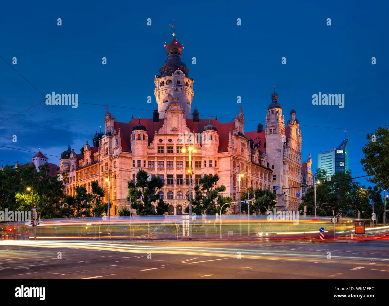 The New Town Hall On Martin Luther Ring The City Tower In The Back Night Shot Light Tracks Of The Tram Leipzig Saxony Germany Stock Photo Alamy