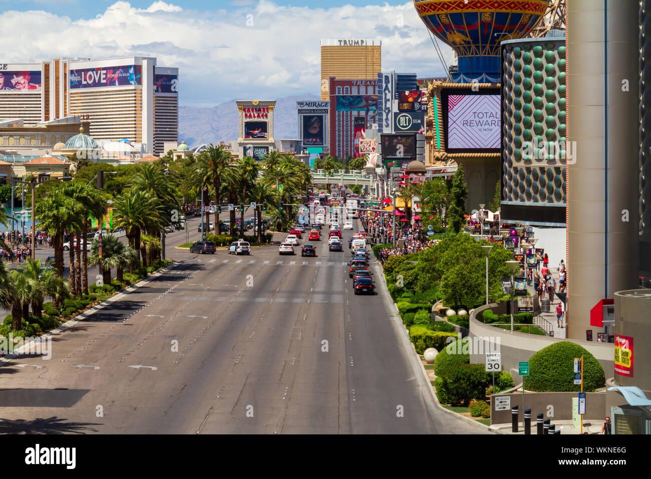 Las Vegas, Nevada / USA – May 11, 2019: Heavy traffic and crowds of people on Las Vegas Blvd in Las Vegas, Nevada. Stock Photo
