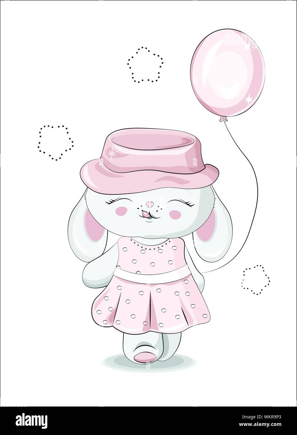 the beautiful girl honey bunny rabbit in a pink dress and a hat with a balloon can be used for t shirt print kids wear fashion design baby showe WKR9P3