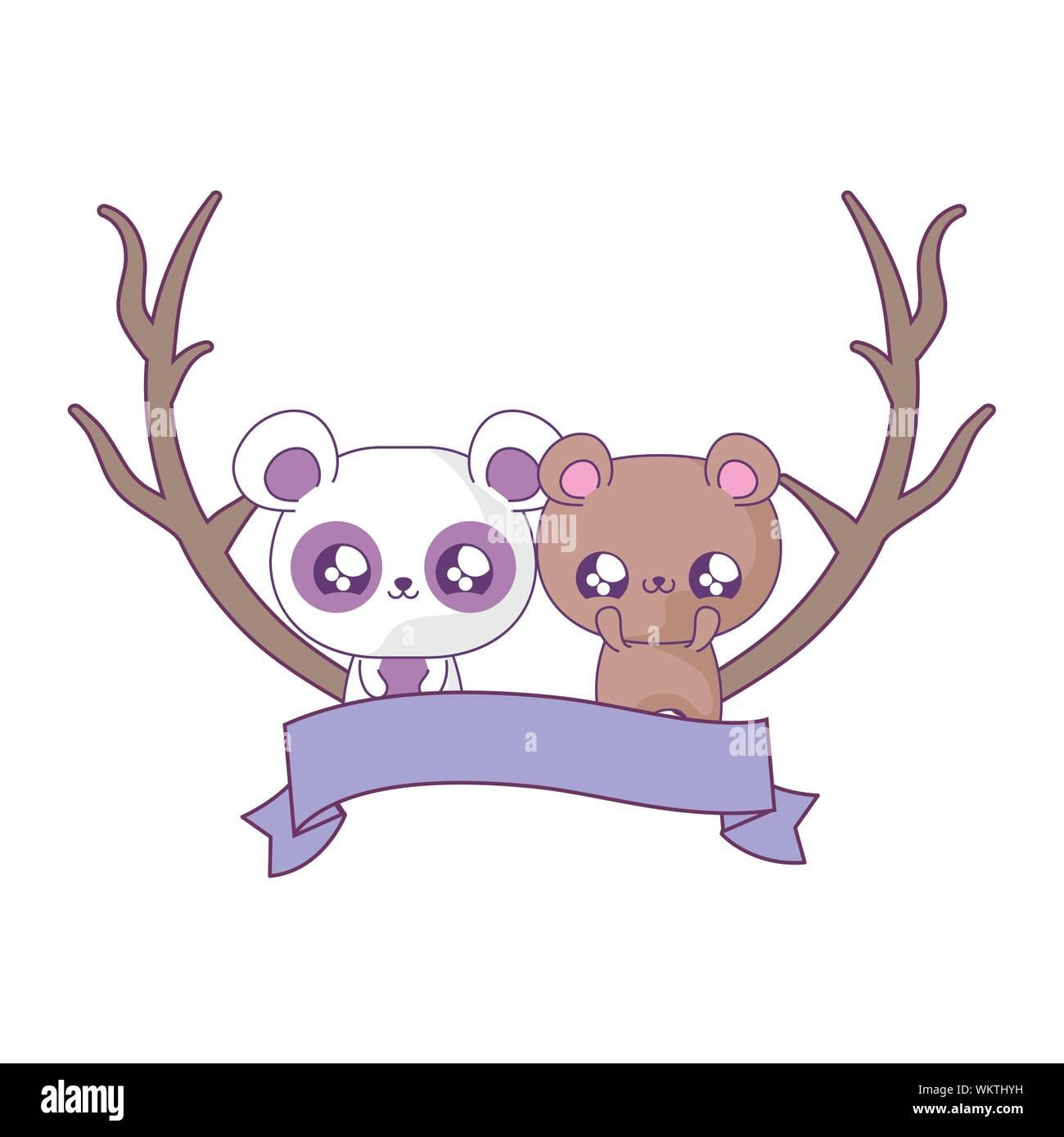 Cute Bear With Panda Bear Baby Animals Kawaii Vector Illustration Design Stock Vector Image Art Alamy