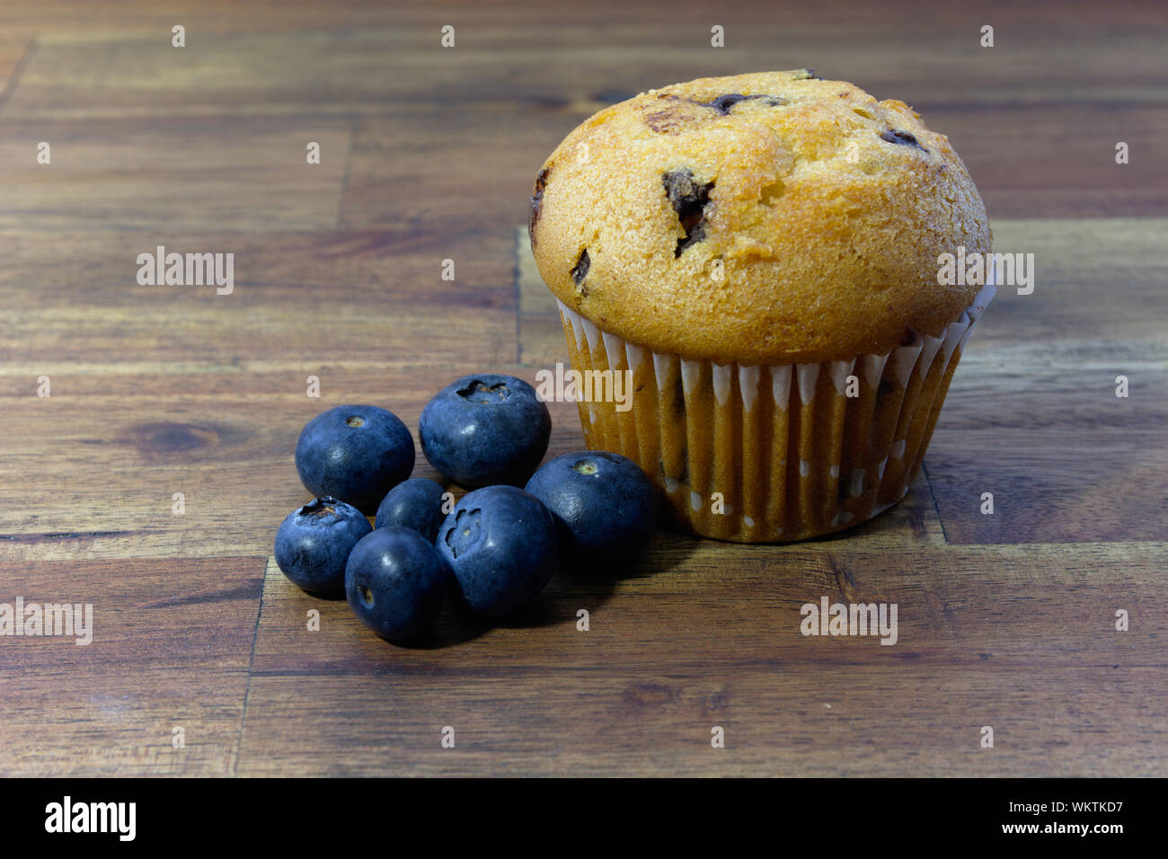 Choc chip muffin with blueberries Stock Photo