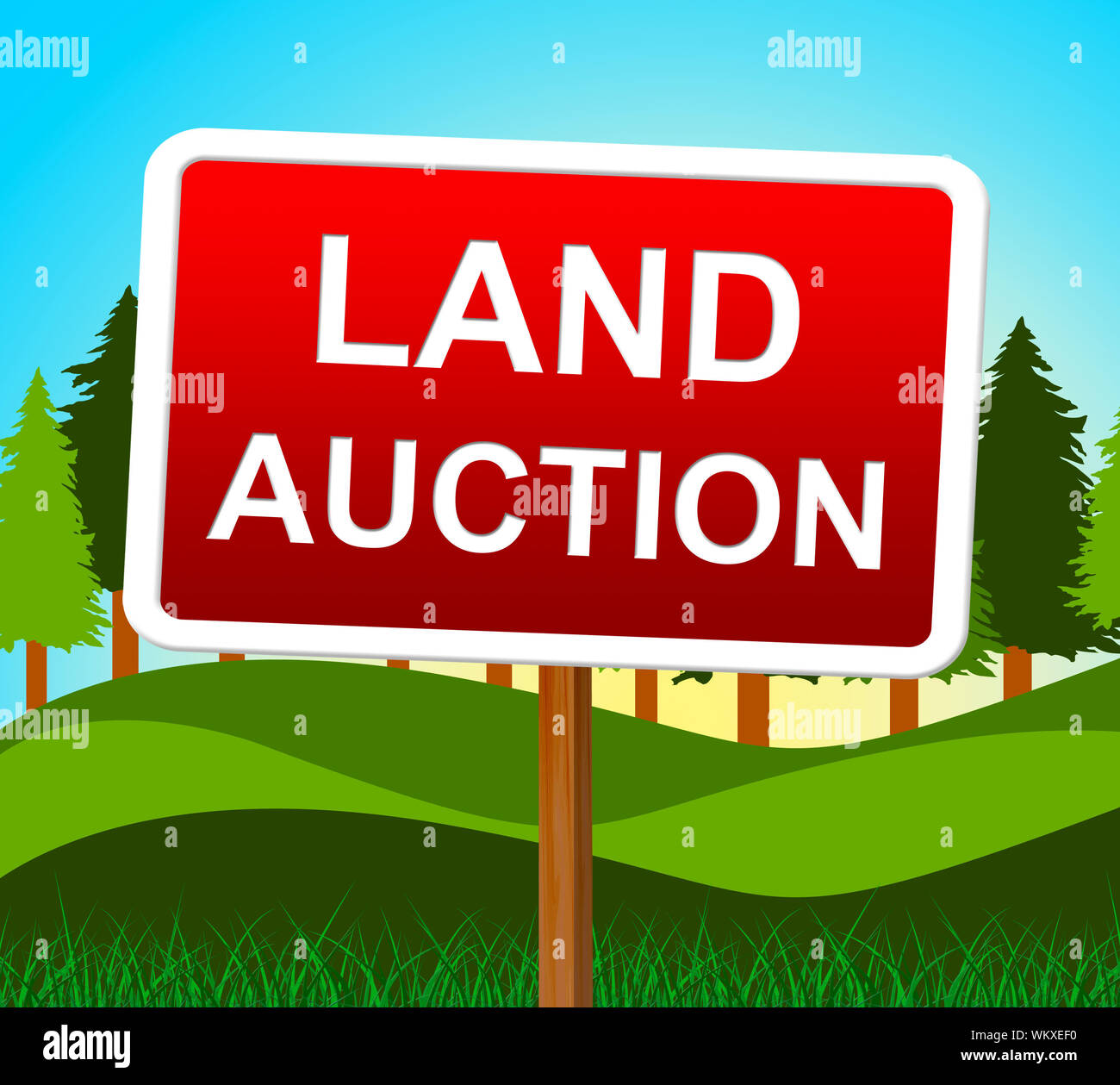 Land Auction Indicating Building Plot And Bidding Stock Photo