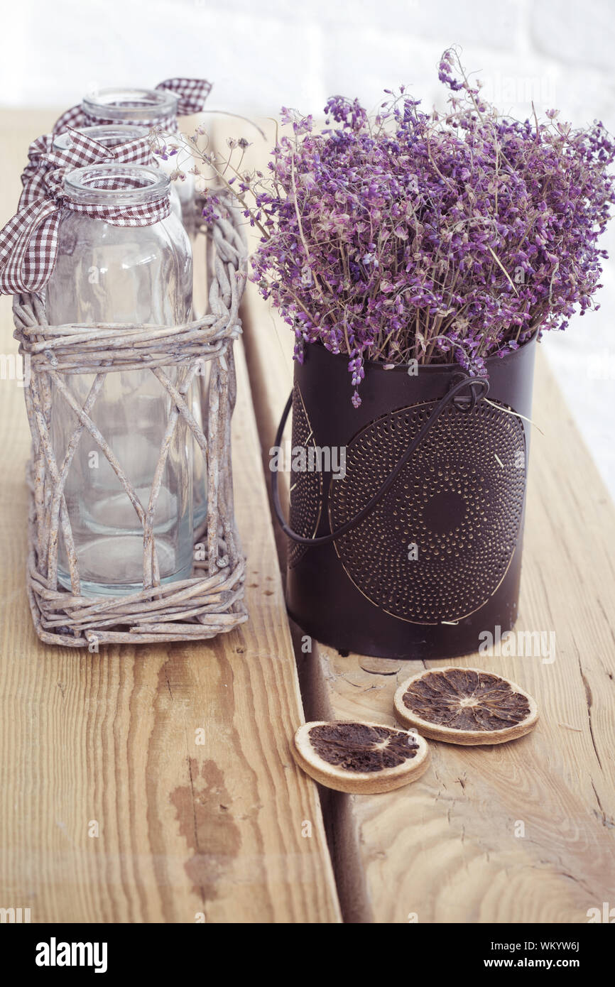 Rustic Home Decor Provence Style Lavender Bouquet Of Dried Field Flowers And Glass Spice Jars On Wooden Bench Stock Photo Alamy