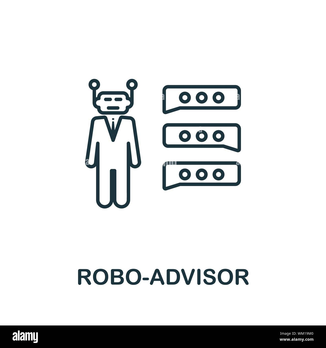 Robo-Advisor outline icon. Thin line concept element from fintech technology icons collection. Creative Robo-Advisor icon for mobile apps and web Stock Vector