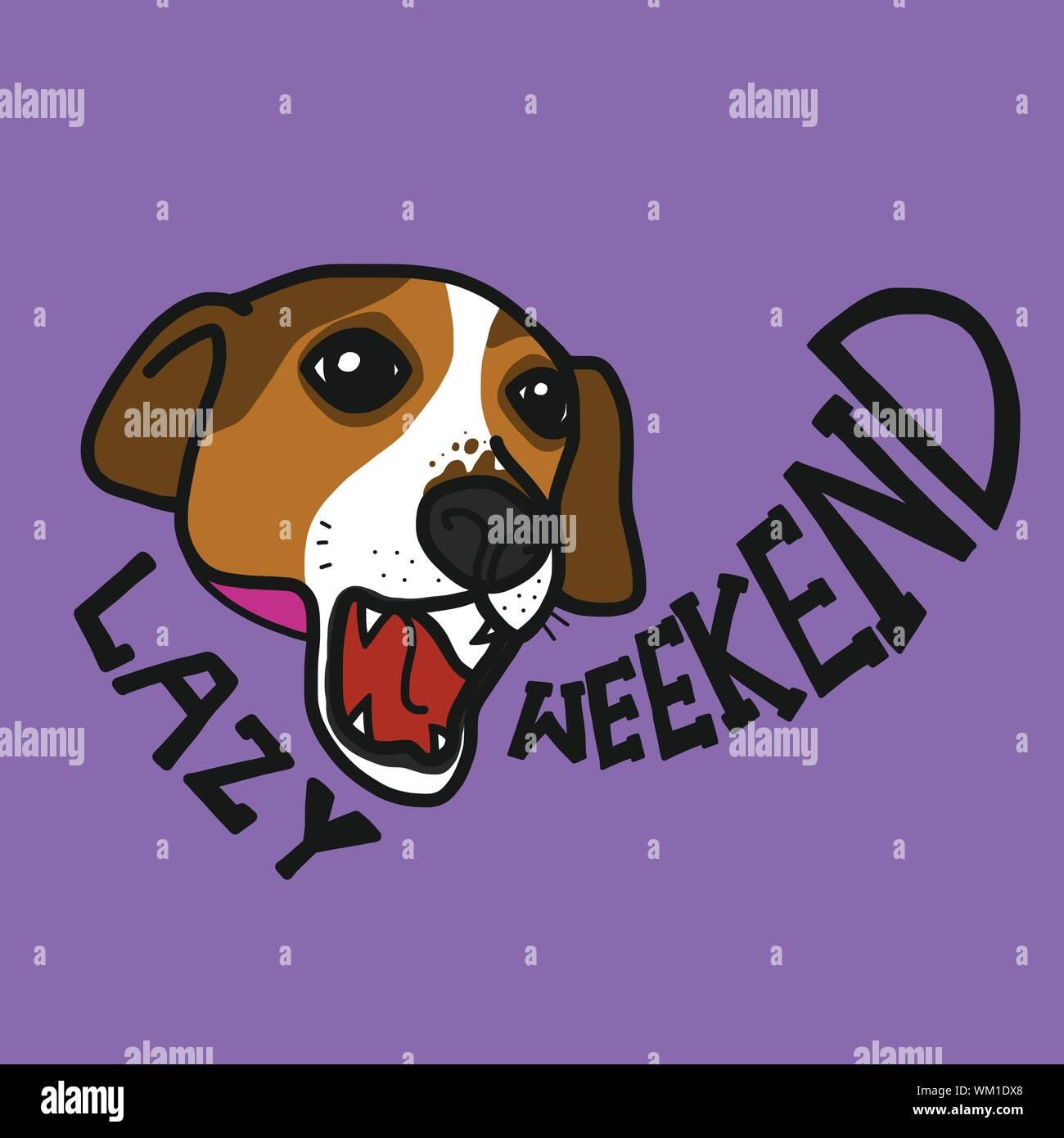 Jack Russell dog lazy weekend cartoon vector illustration Stock Vector
