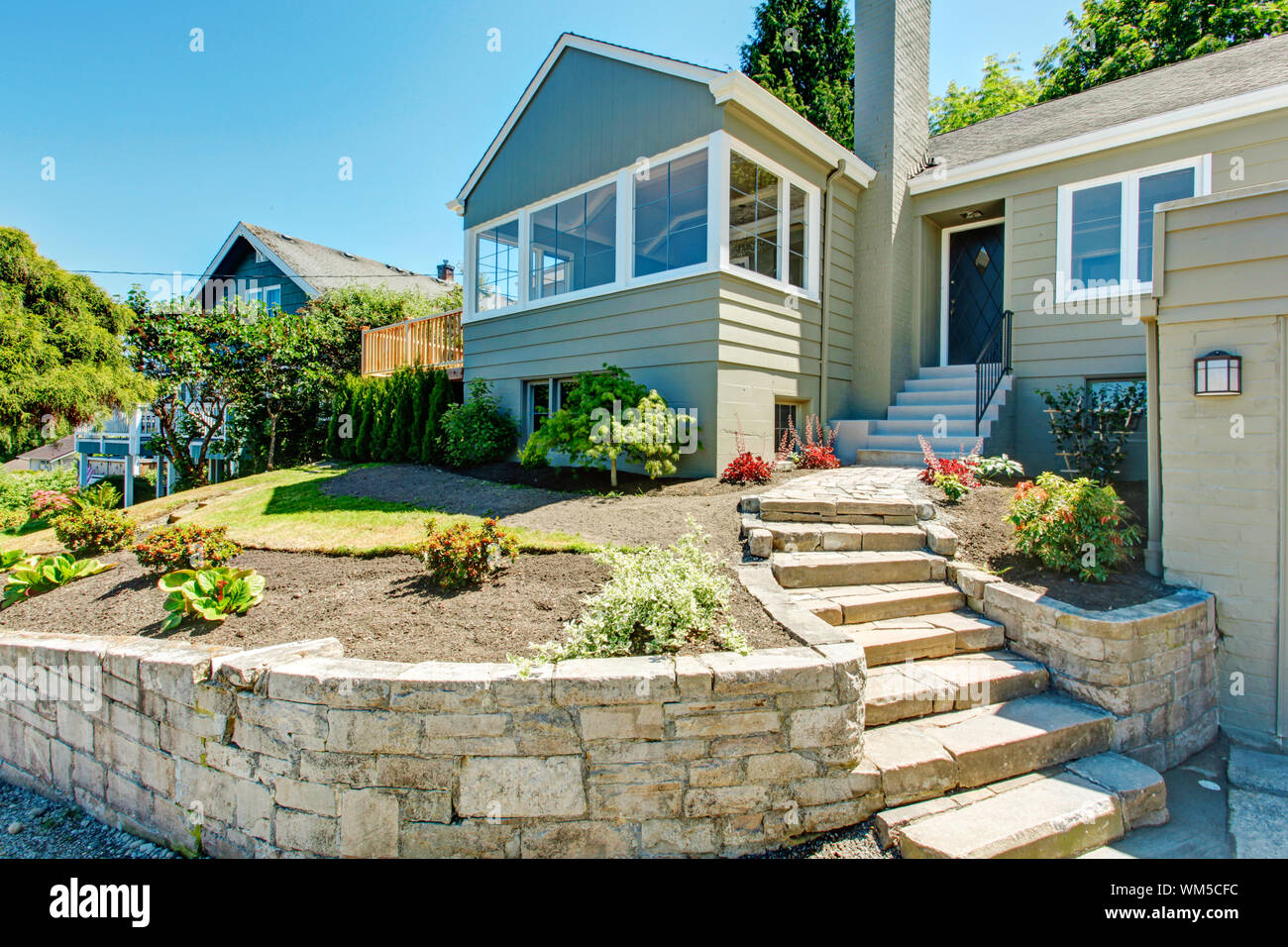 House Exterior In Clapboard Siding And Front Yard Landscape