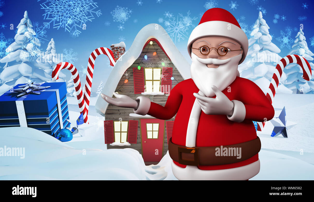 cute cartoon santa claus against christmas house with gifts and candy canes WM6582