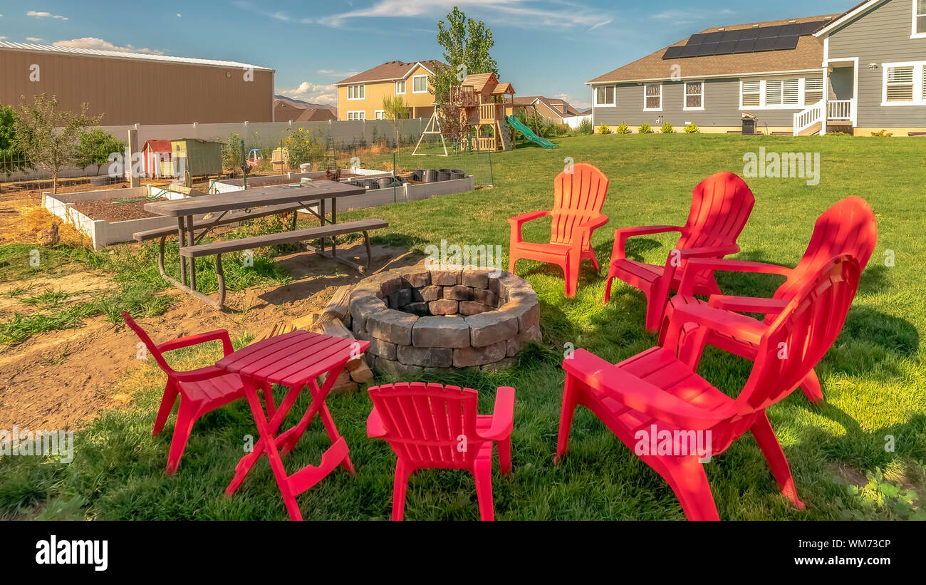 Peachy Panorama Backyard Chairs Around A Stone Fire Pit Adjacent To Machost Co Dining Chair Design Ideas Machostcouk