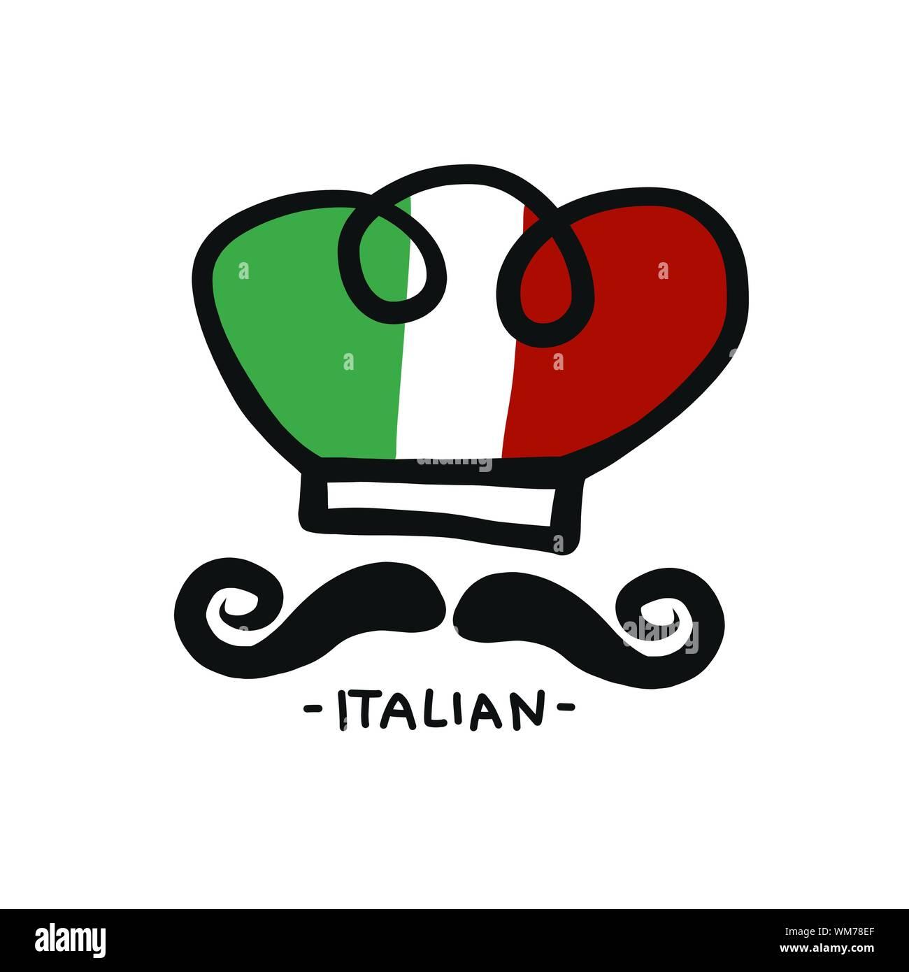 Italian chef hat logo vector illustration Stock Vector