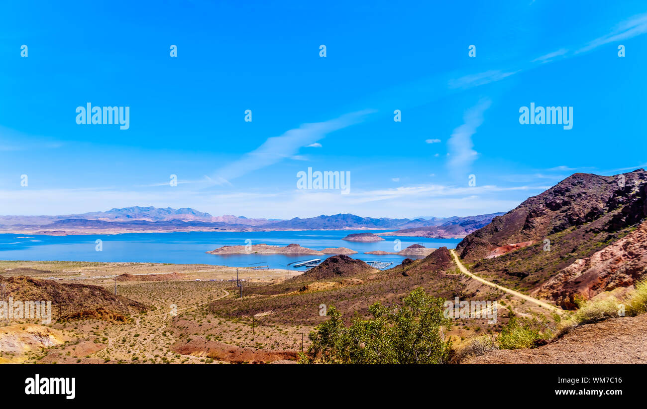 View of Lake Mead from the Historic Railroad Hiking Trail near the Dam between Nevada and Arizona, USA Stock Photo