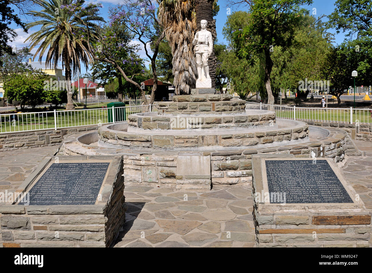 Two granite plaques and a statue at Beaufort West in the Northern Cape Province of South Africa commemorating local people who died during World War T Stock Photo