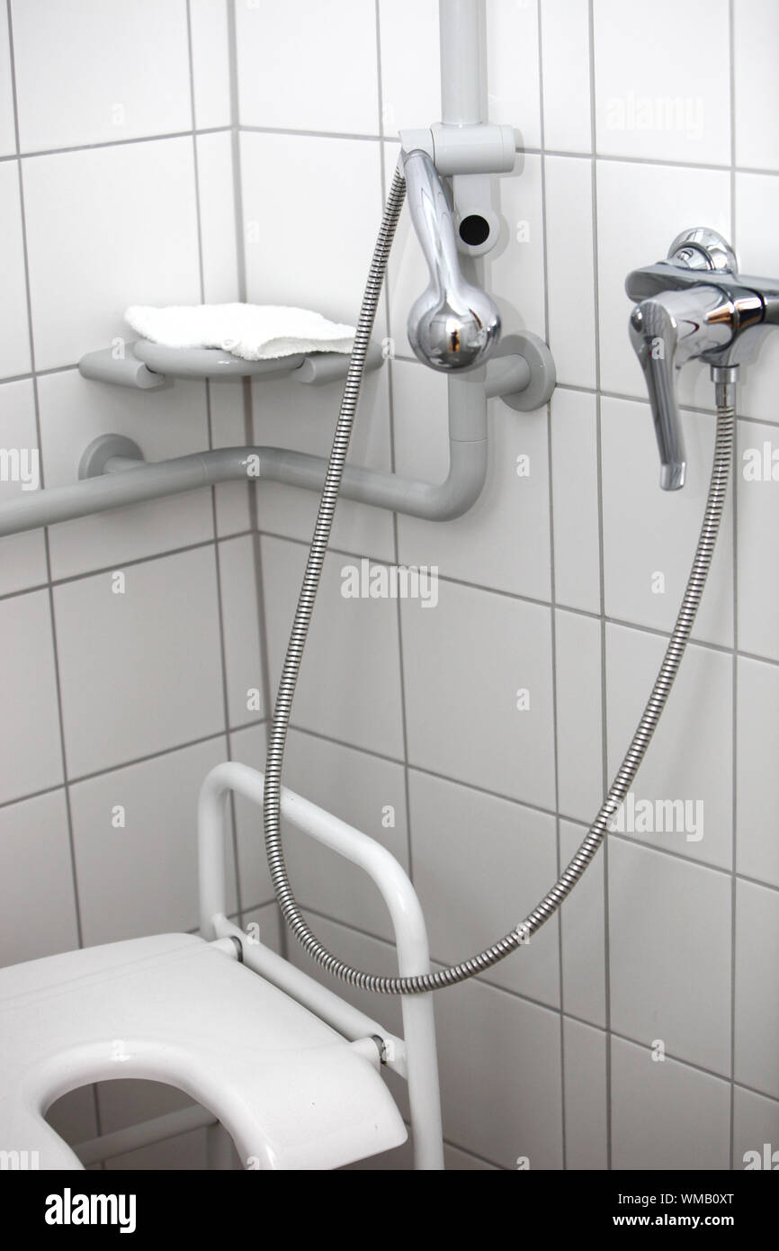 Disabled toilet and shower Stock Photo