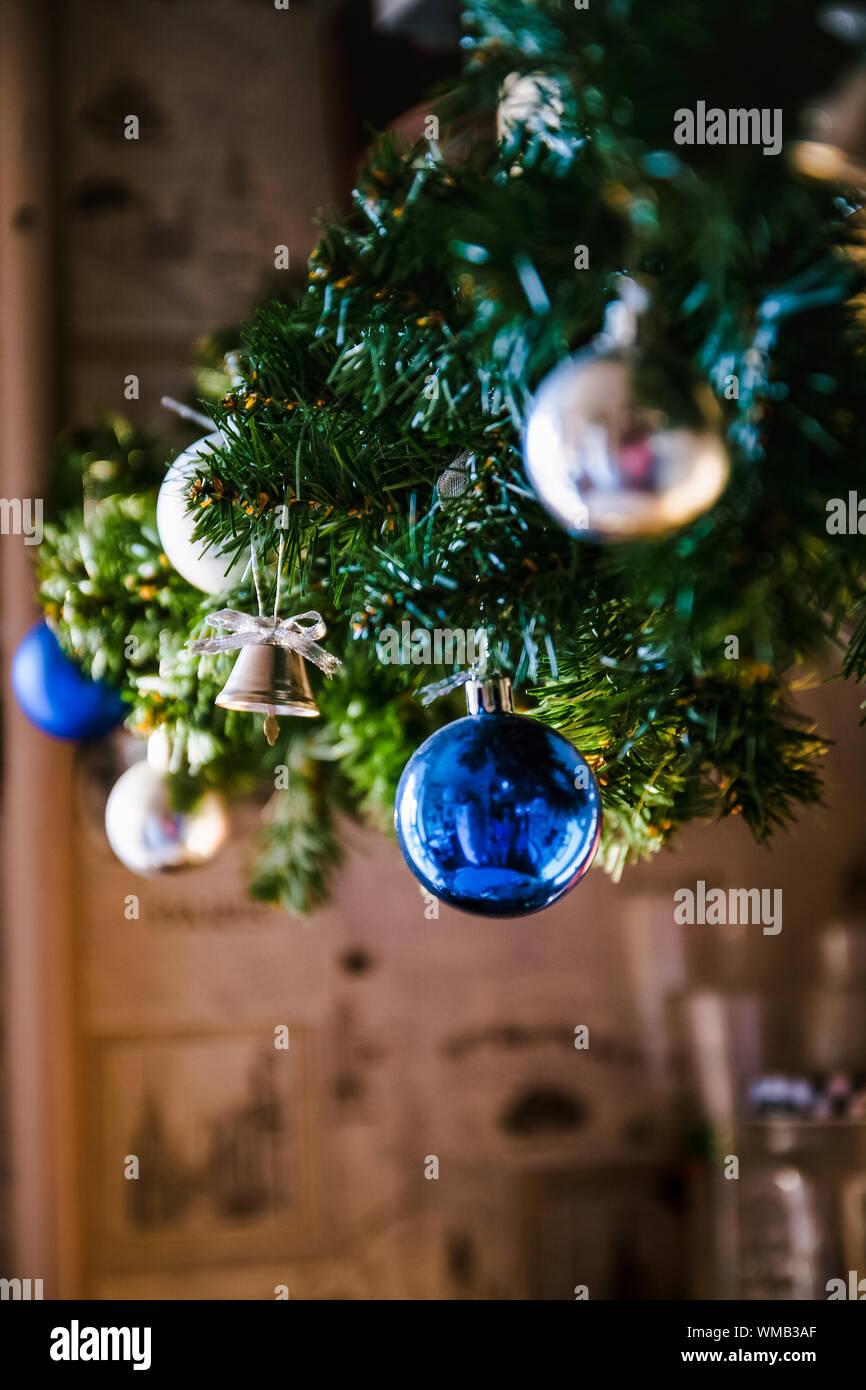Glass Ball And Decorations On Christmas Tree Christmas Tree