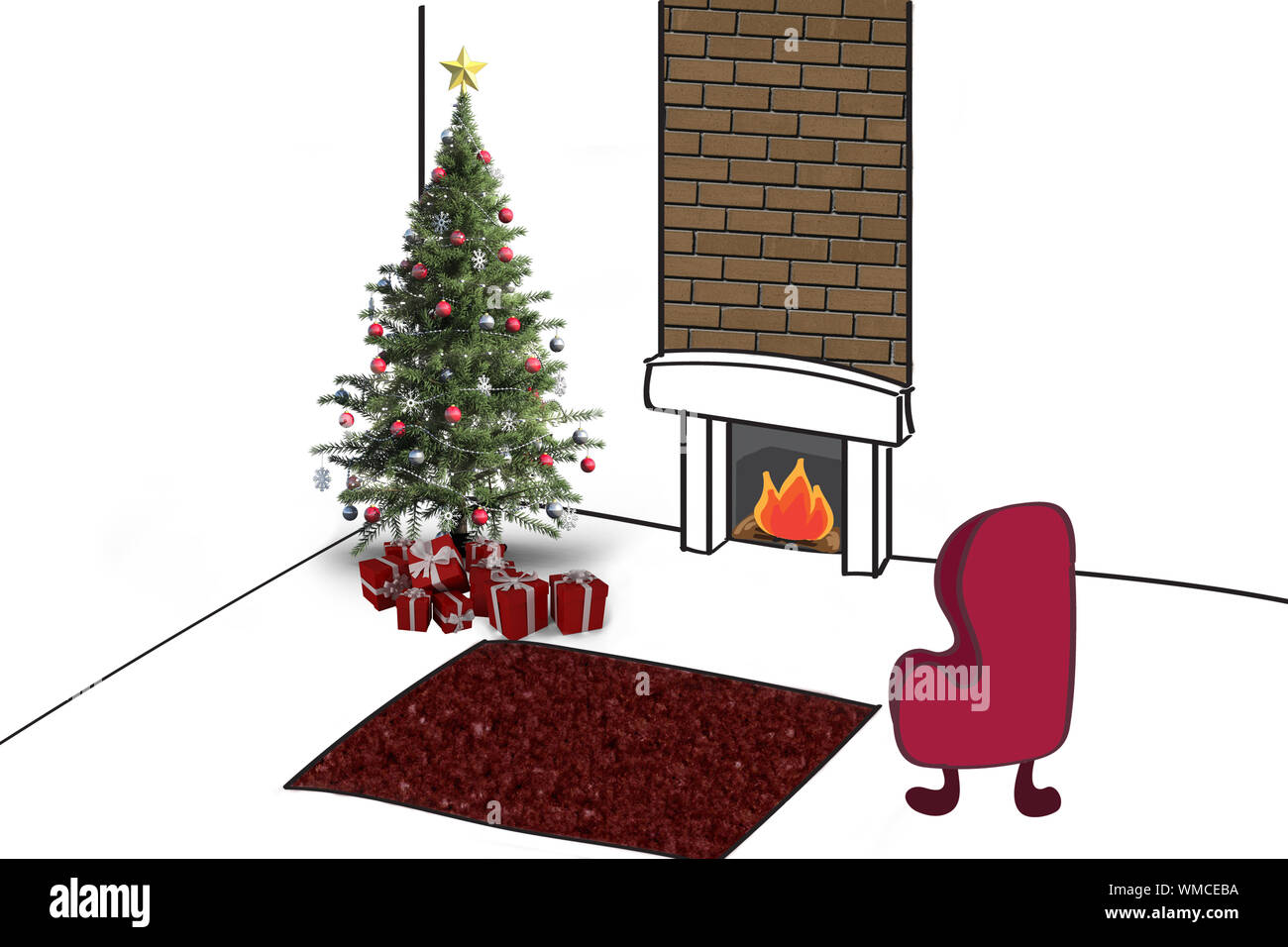 Christmas Tree With Presents Against Living Room Sketch