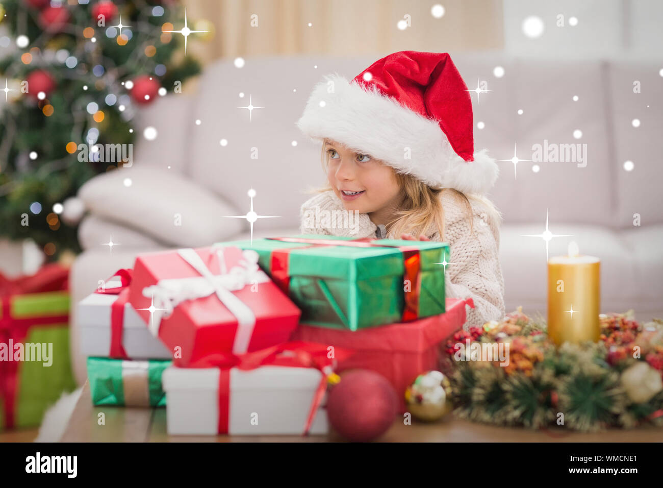 Cute Christmas Gifts For Girlfriend.Cute Little Girl Surrounded By Christmas Gifts Against Snow