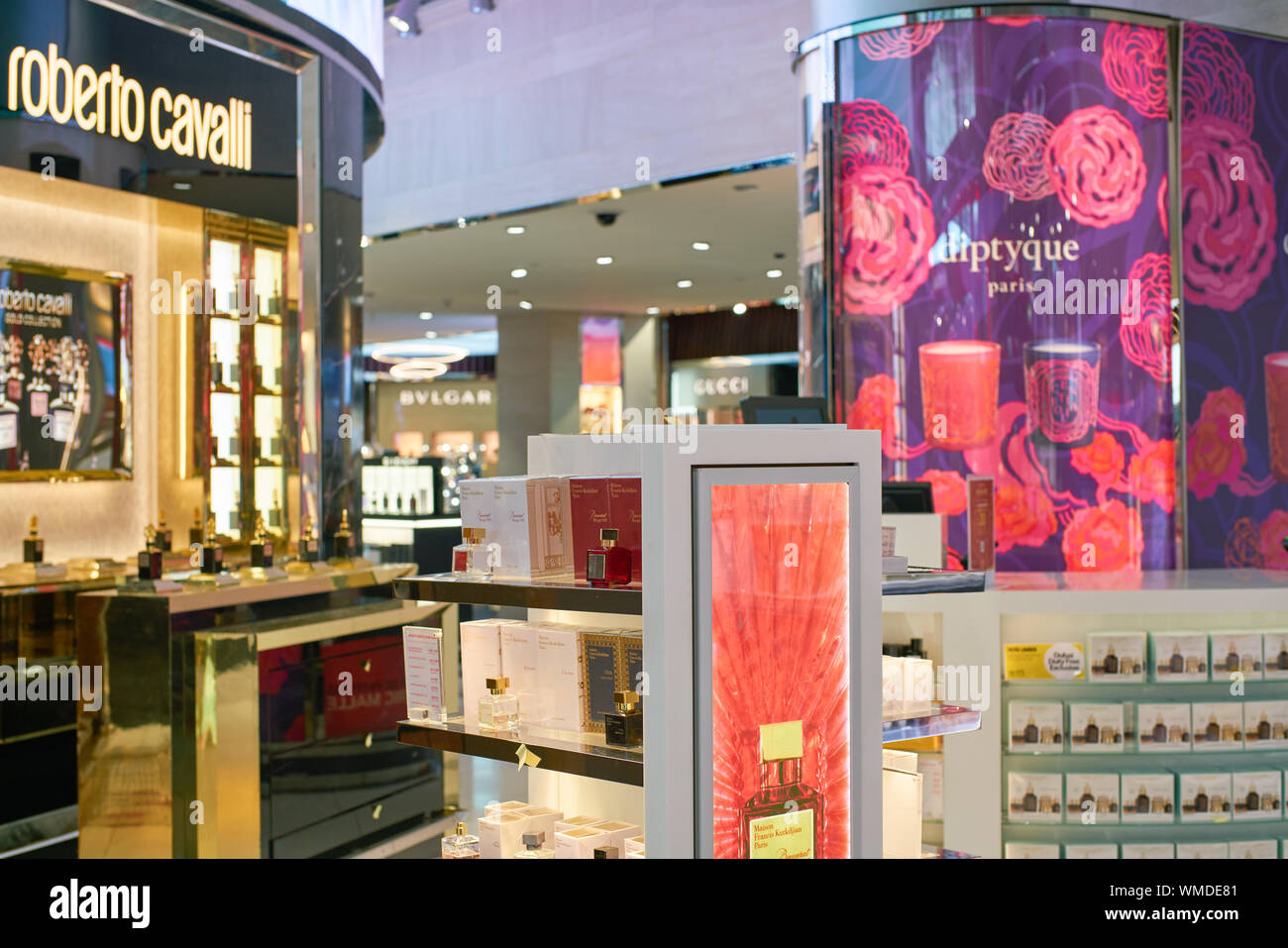 DUBAI, UAE - CIRCA FEBRUARY, 2019: perfumes on display in Duty Free at Dubai International Airport. Stock Photo