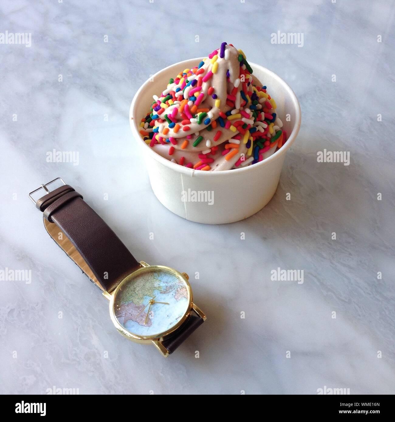 wristwatch by frozen yogurt with sprinkles WME16N