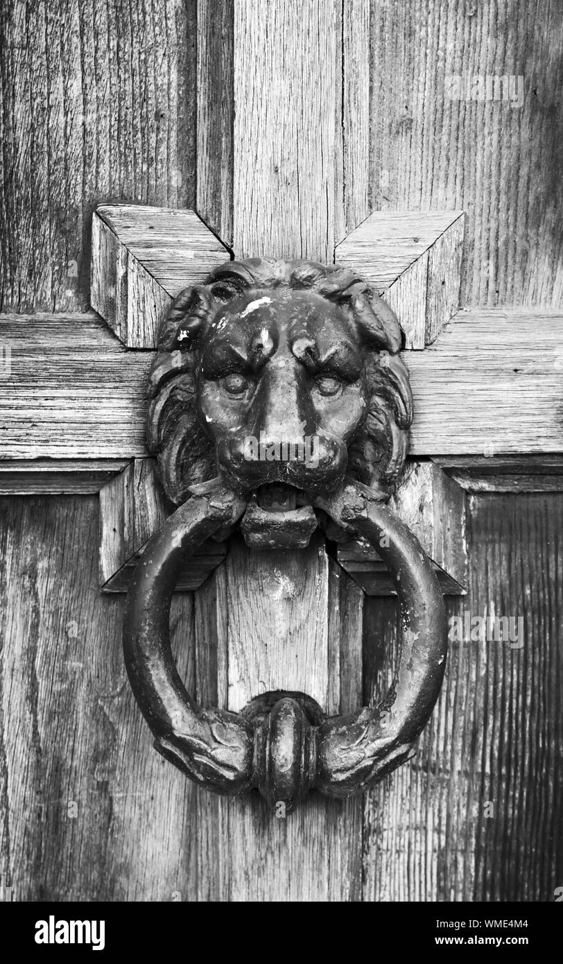 Old Doorknob In Shape Of Lion Head On Vintage Wooden Door