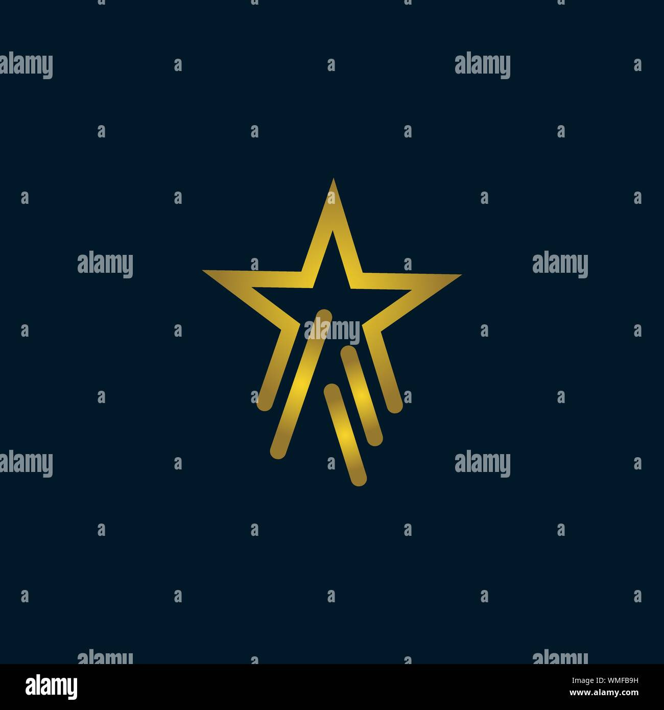 Gold Star Logo Vector in elegant Style with dark blue Background Stock Vector