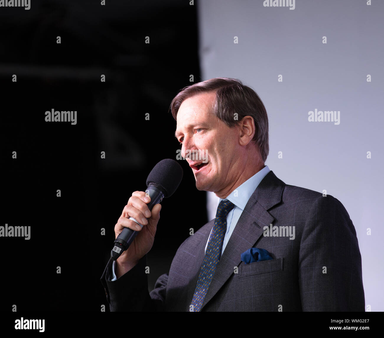 London, UK. 4th September 2019. Conservative Member of Parliament, Dominic Grieve MP, speaks to a crowd of anti-Brexit protesters on Parliament Square. Credit: Joe Kuis / Alamy News Stock Photo
