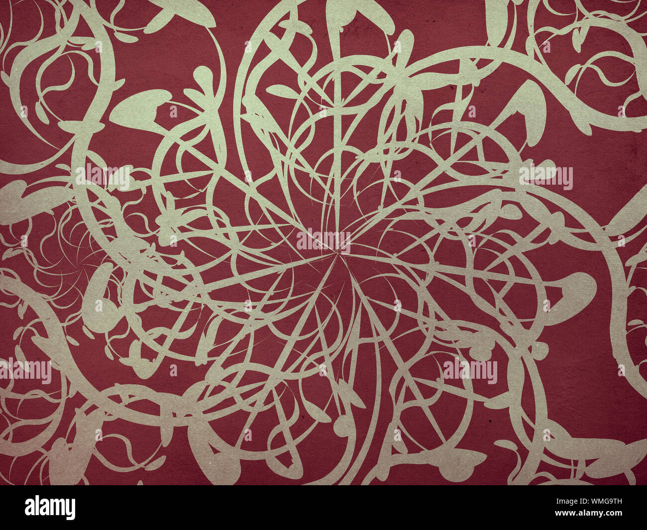 Illustration Of Red Vintage Floral Pattern Texture Background