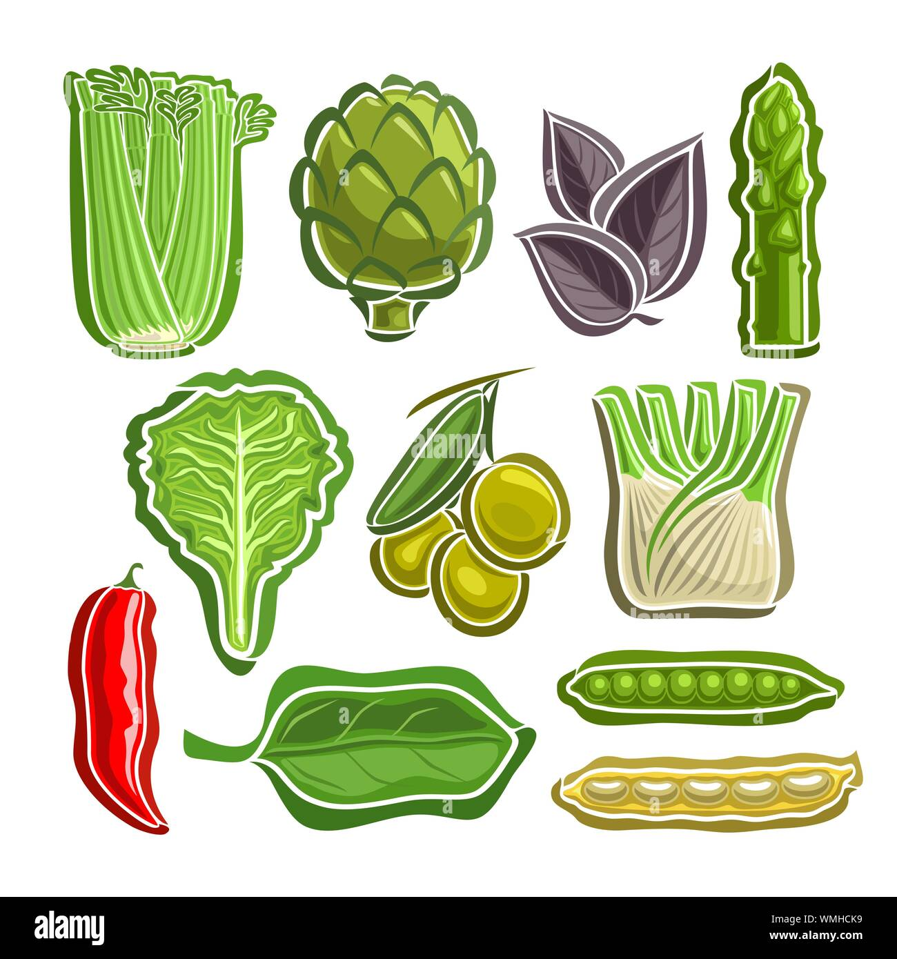 Vector Set of Vegetables simple icons isolated on white. Stock Vector