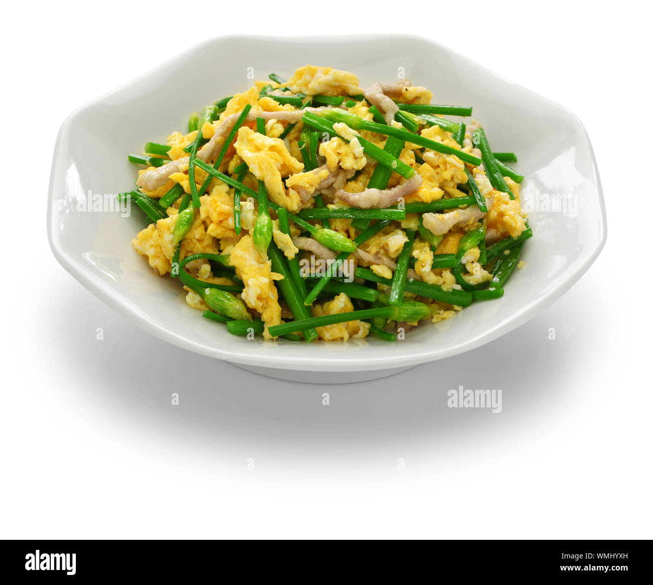 stir fried flowering garlic chives with eggs, chinese cuisine Stock Photo