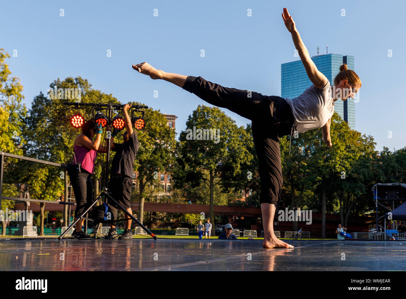 Dancers rehearse before an outdoor summer concert at the Hatch Shell on the Esplanade, Boston Massachusetts USA Stock Photo