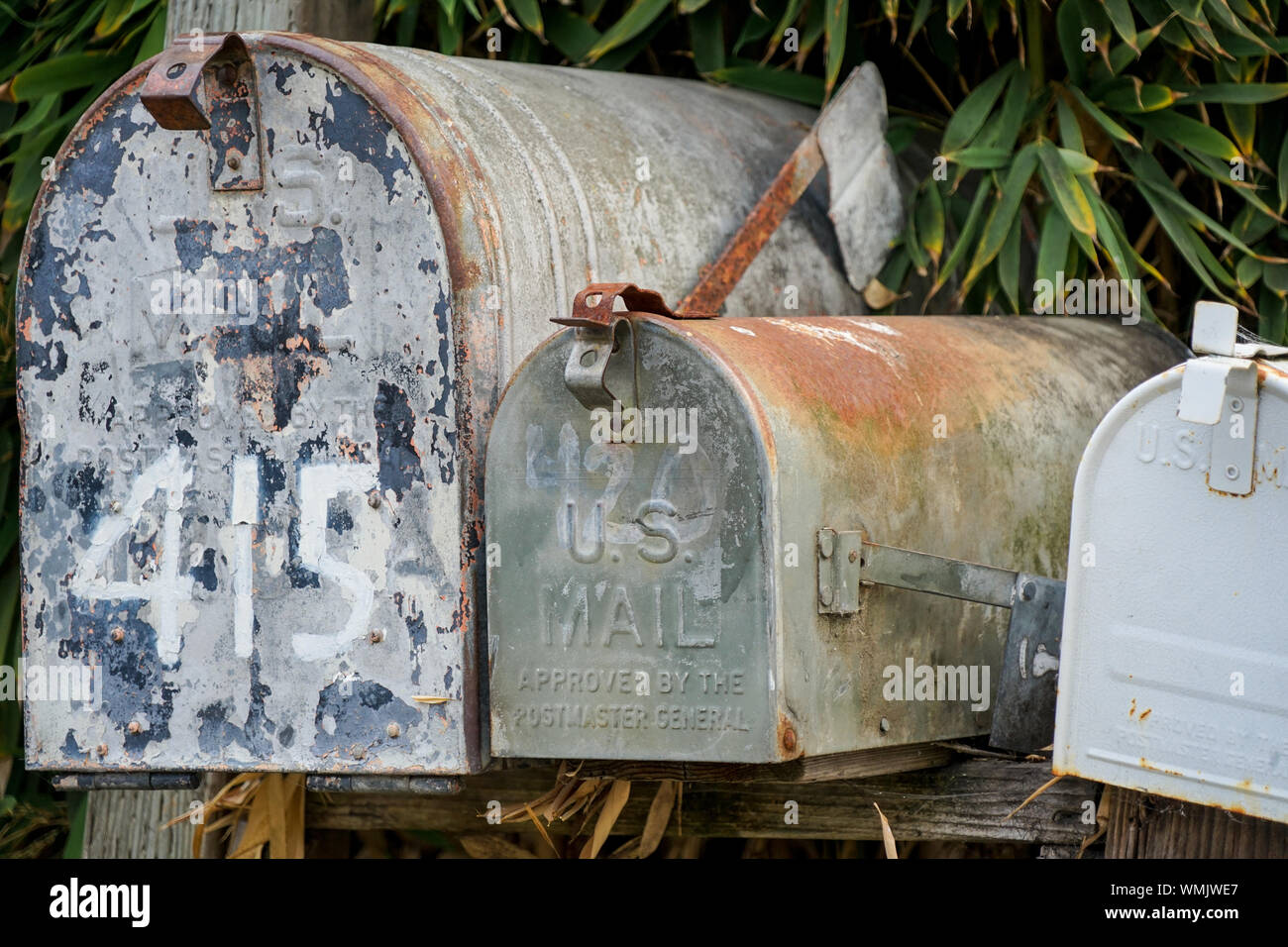Old mailboxes still serving Stock Photo