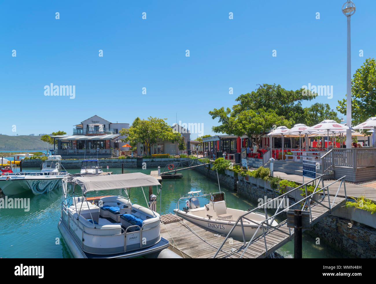 Restaurants in the marina on Thesen Island, Knysna, Garden Route, Western Cape, South Africa Stock Photo