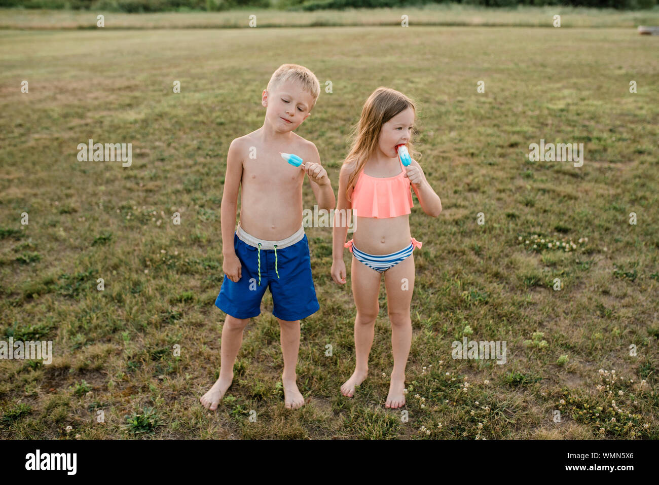 Brother and sister eat popsicles wearing swimsuits in grass in summer Stock Photo