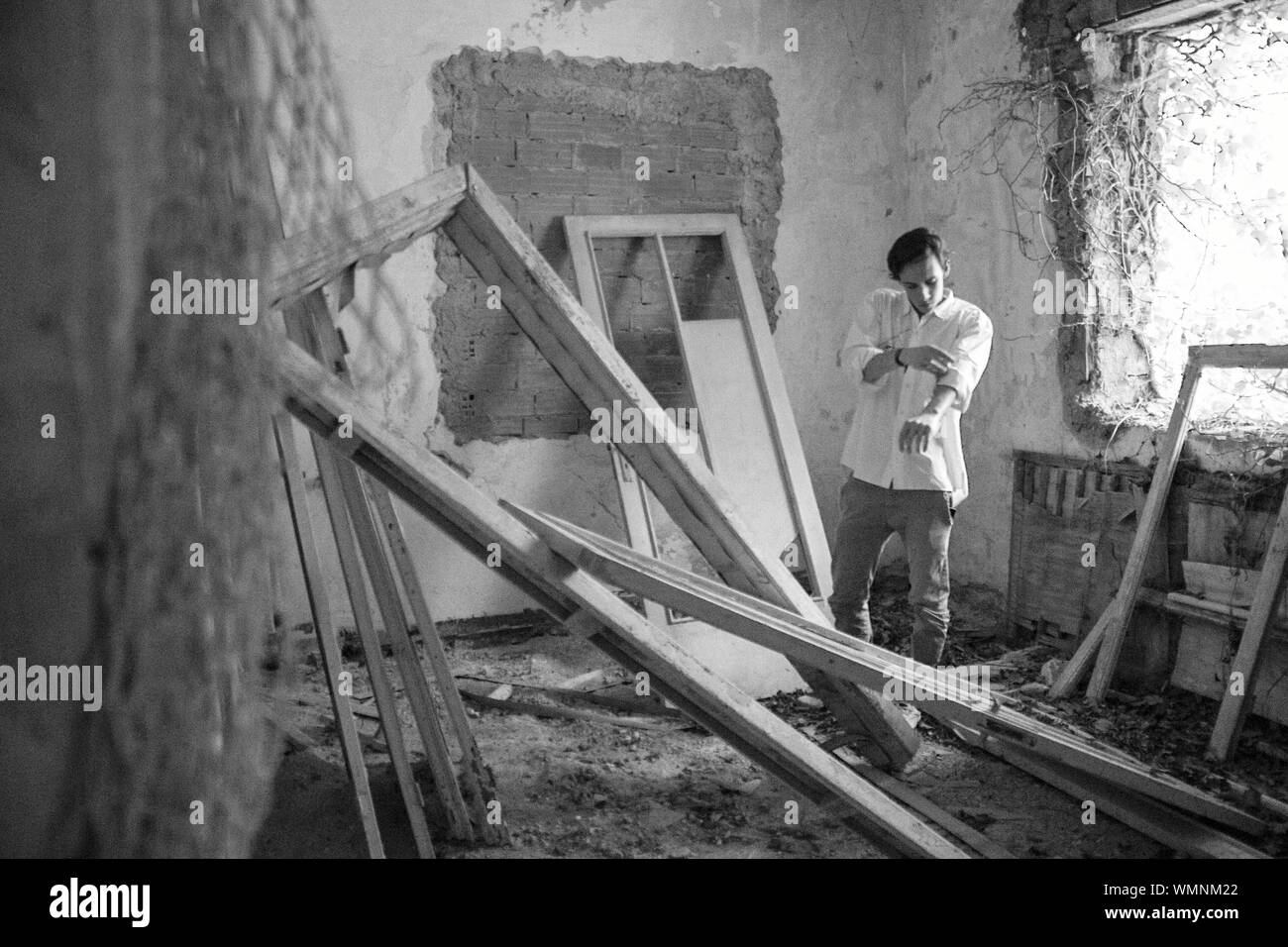 Portrait Of Man In Abandoned Building Stock Photo Alamy