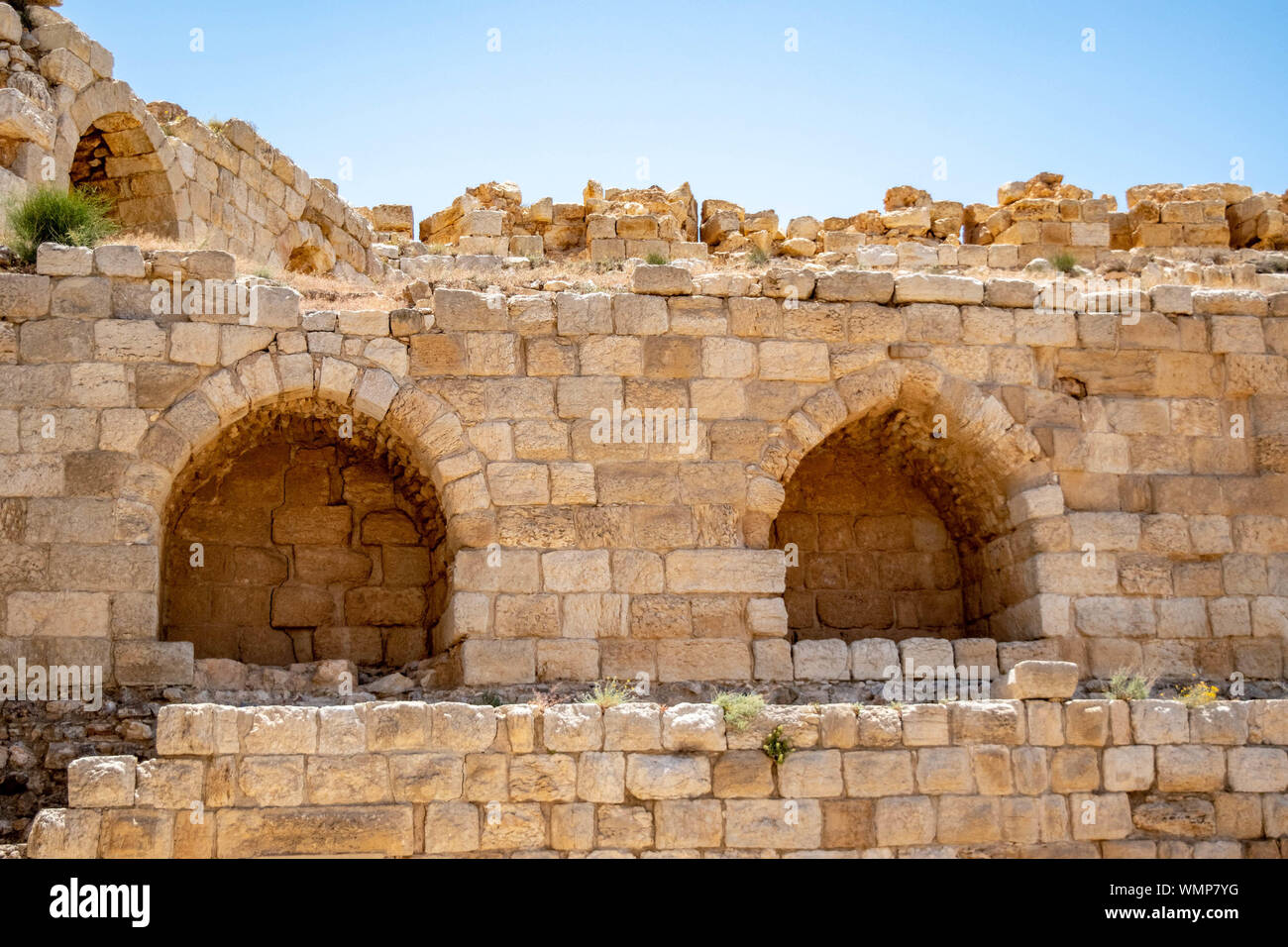 Stone arches found in the ancient Crusaders castle at Kerak, on the Kings Higway in Jordan. Stock Photo