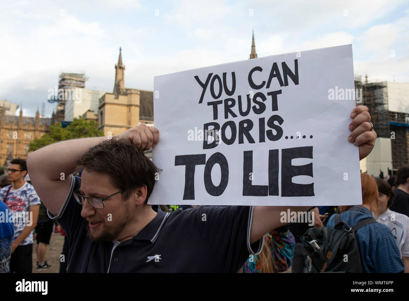 Anti Brexit protesters with messages against Boris Johnson and the ...