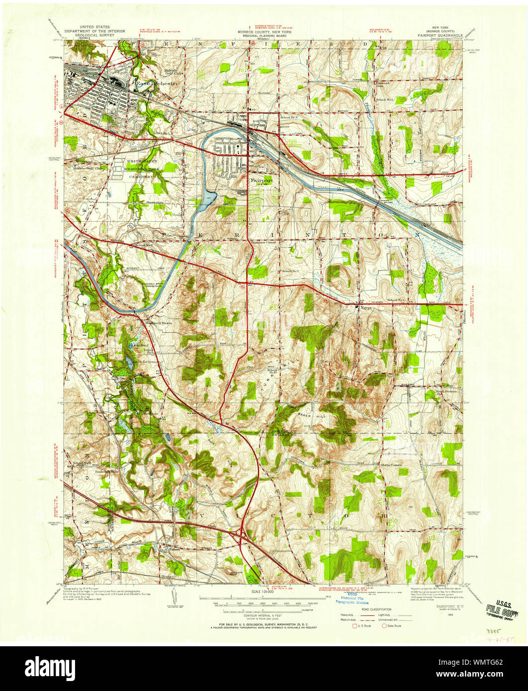 """22/"""" X 27/"""" New York State Quadrangle Topographical Map of Pittsford 1971 M-18"""