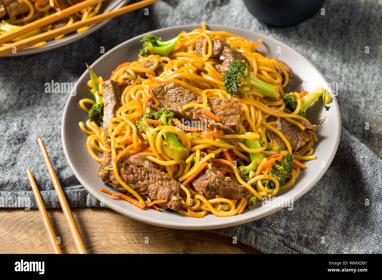 Homemade Beef Lo Mein Noodles With Carrots And Broccoli Stock Photo Alamy