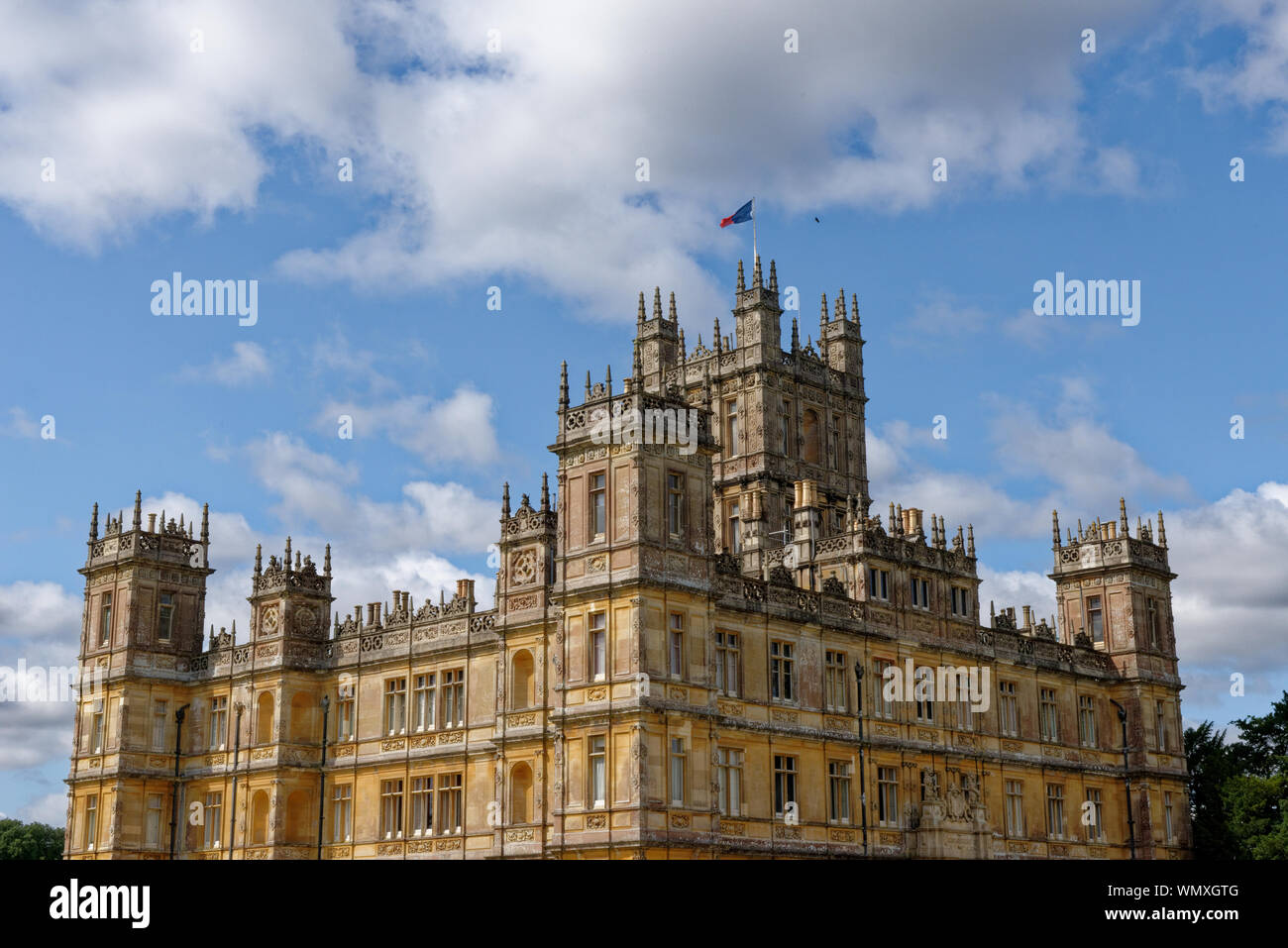 Highclere Castle, home of the Earl and Countess of Carnarvon, and film location of the TV series Downton Abbey, in Berkshire, United Kingdom. Stock Photo