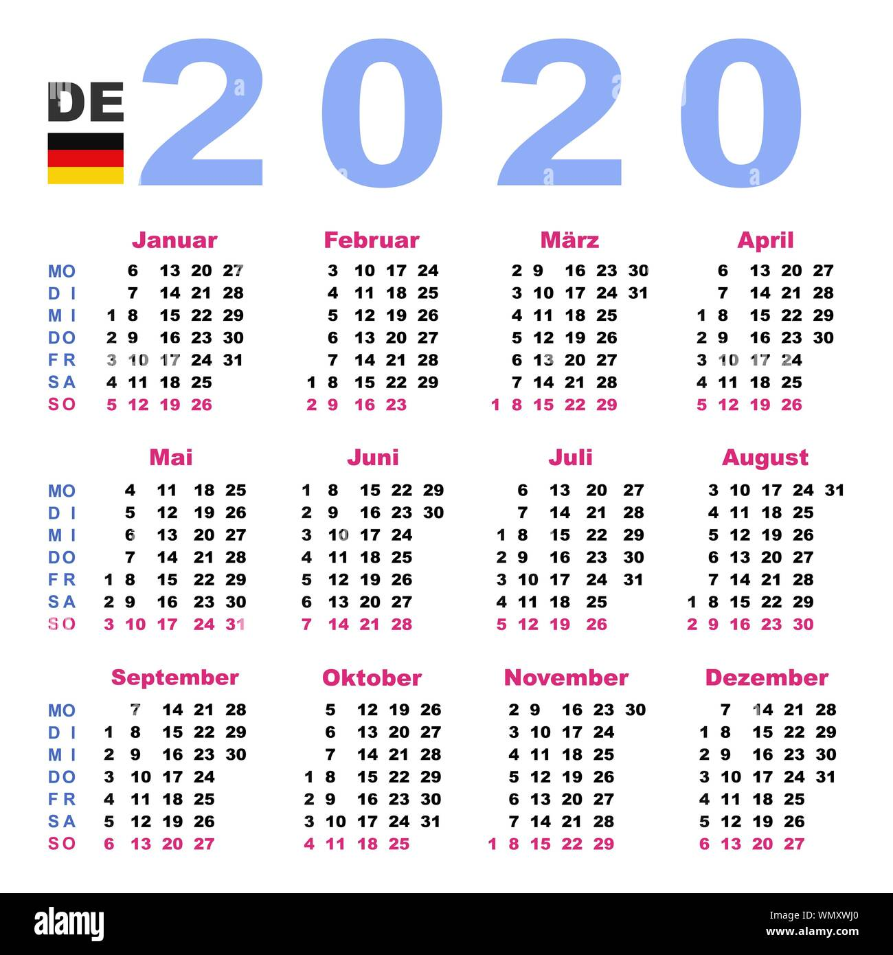Can Calendrier 2020.Calendar 2020 Stock Photos Calendar 2020 Stock Images Alamy