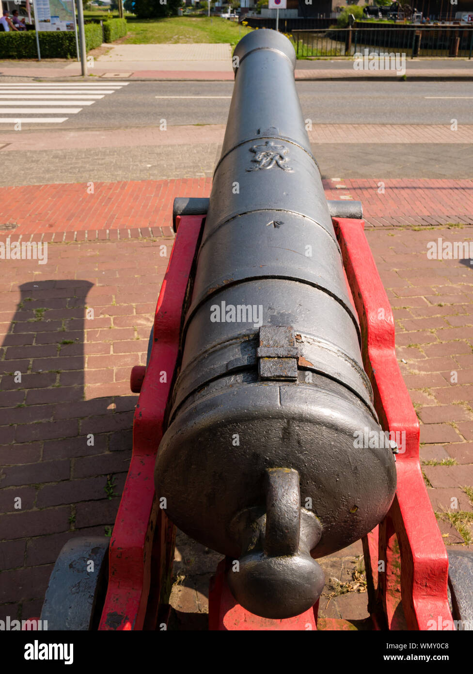 Stade, Germany - August 25, 2019: View at old cannon in front of Swedish Warehouse Museum in historical center of the town of Stade at day. Stock Photo