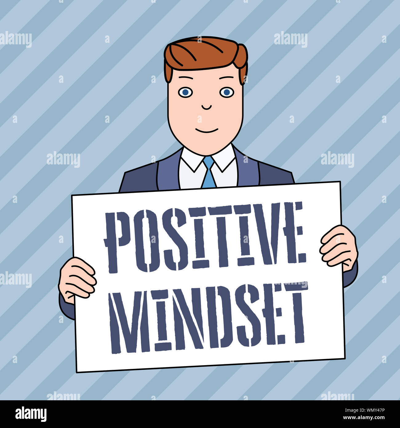 Conceptual hand writing showing Positive Mindset. Concept meaning mental attitude in wich you expect favorable results Smiling Man Holding Suit Poster Stock Photo