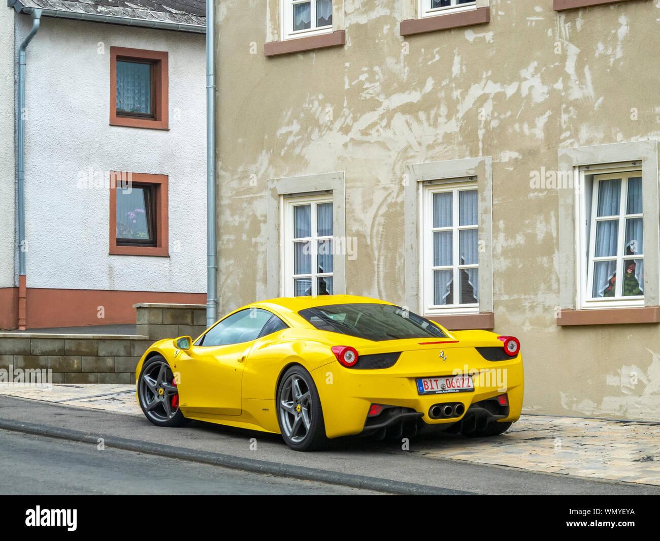 Bleialf Germany May 09 2013 Yellow Parked Ferrari 458 Spider In Bleialf Rhineland Palatinate Germany Stock Photo Alamy