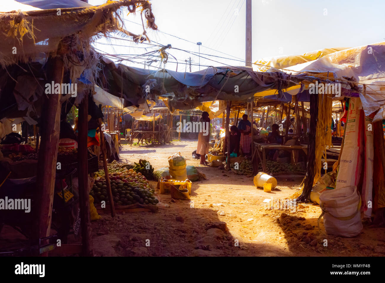 Nanyuki, Laikipia county, Kenya - January 3rd, 2017: Photograph of quiet Kenyan fruit and vegetable market during a typical hot dry day. Stock Photo