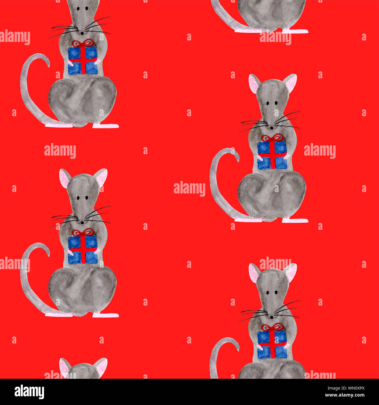Christmas Gift Box Template.Seamless Pattern With Christmas Rat Holding Gift Box