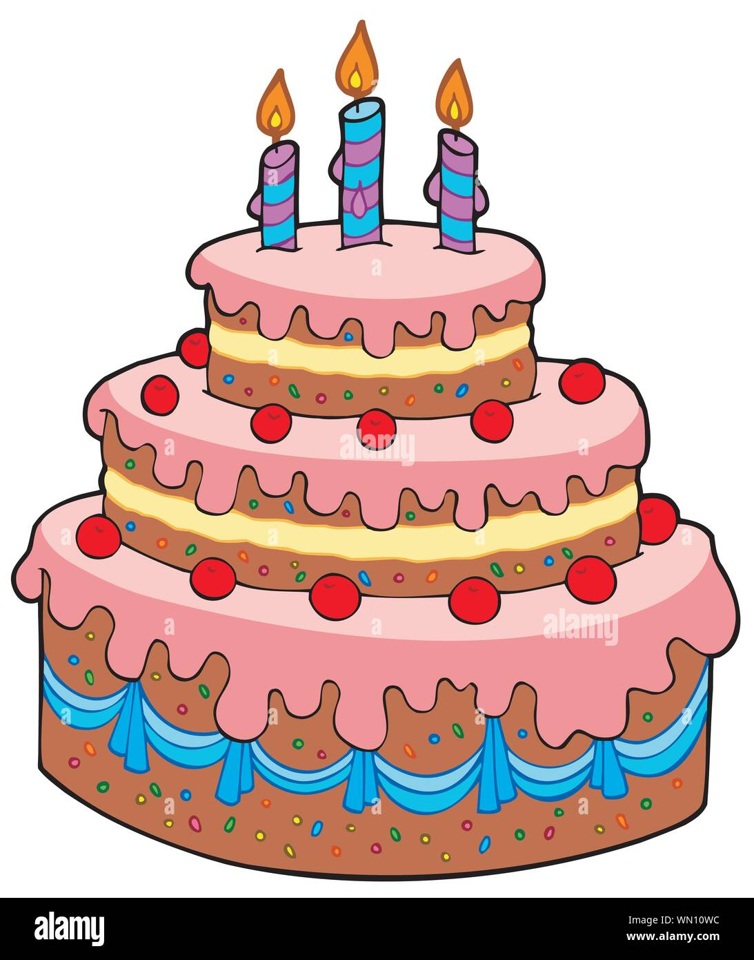 Pleasant Big Cartoon Birthday Cake Stock Vector Art Illustration Vector Personalised Birthday Cards Veneteletsinfo