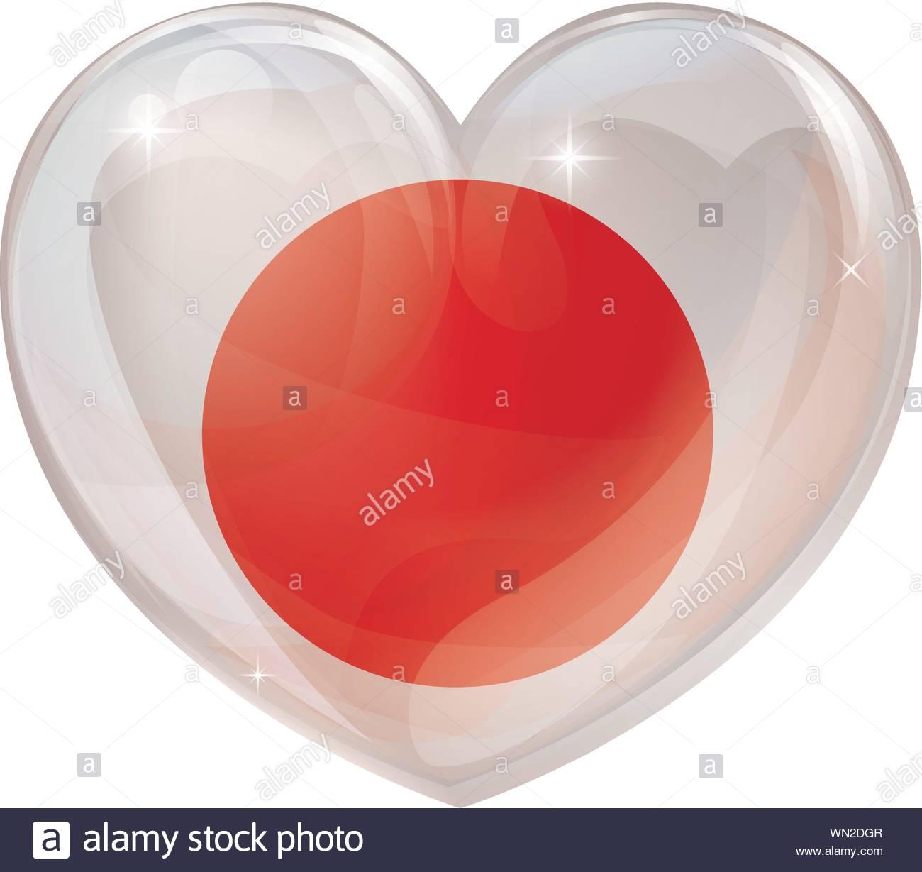 Japan flag love heart Stock Vector