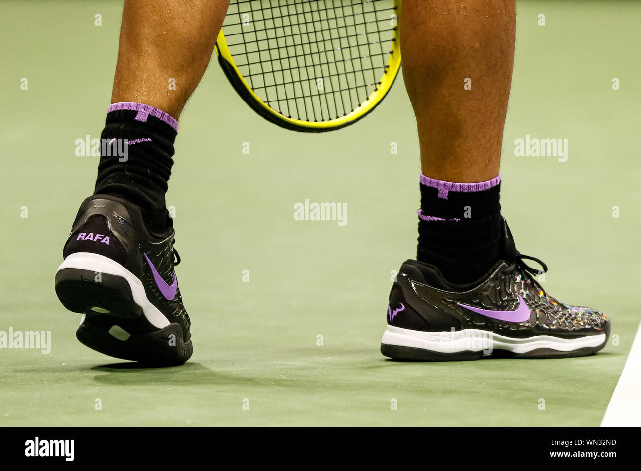 New York Usa 04th Sep 2019 Rafael Nadal S Nike Shoes During His Men S Singles Quarterfinals Match Against Diego Schwartzman Of Argentina On Day Ten Of The 2019 Us Open At The Usta
