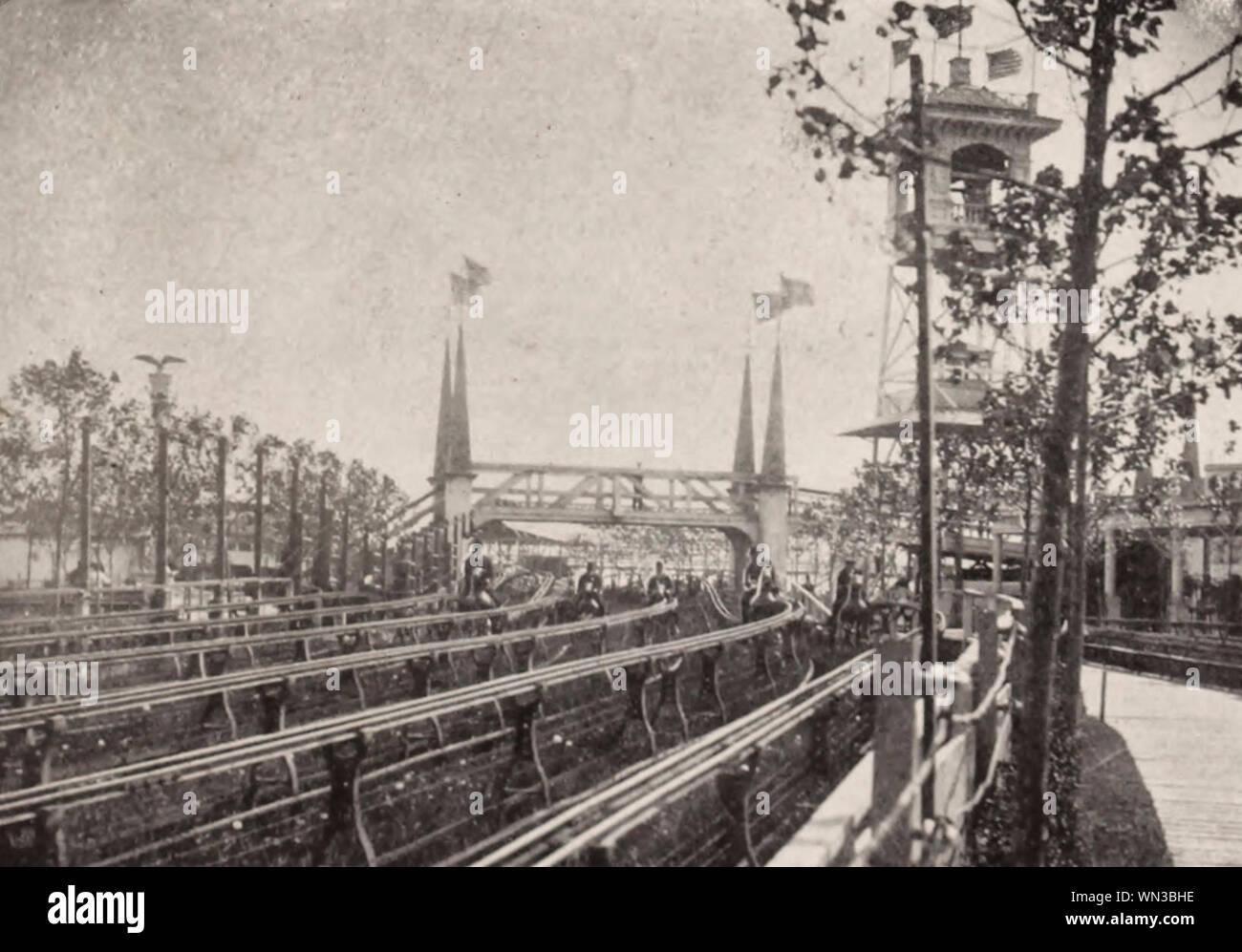 A Race at Steeplechase Park, Coney Island, circa 1904 Stock Photo